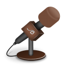 128x128px size png icon of microphone foam brown