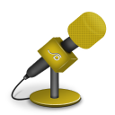 128x128px size png icon of microphone foam orange