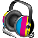 128x128px size png icon of CMYK headphones