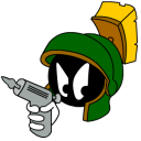 128x128px size png icon of Marvin Martian Angry with gun