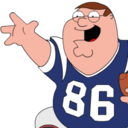 128x128px size png icon of Peter Griffin Football zoomed