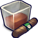 128x128px size png icon of Brown Liquid Filled Glizass With Cigar