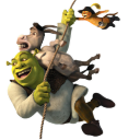 128x128px size png icon of Shrek and Donkey and Puss 2