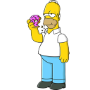 128x128px size png icon of Homer Simpson 01 Donut