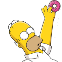 128x128px size png icon of Homer Simpson 02 Donut