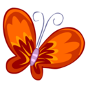128x128px size png icon of Red Butterfly