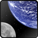 128x128px size png icon of Earth and Moon