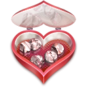 128x128px size png icon of Heart candies open