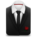 128x128px size png icon of Manager Suit Black Tie Rose