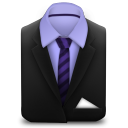 128x128px size png icon of Manager Suit Purple Stripes