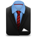 128x128px size png icon of Manager Suit Red Stripes