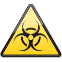 128x128px size png icon of Documents BiologicalHazard Symbol Triangle