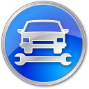 128x128px size png icon of Car Repair Blue