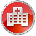 128x128px size png icon of Hospital Red