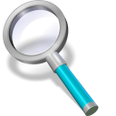 128x128px size png icon of search cyan