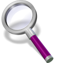128x128px size png icon of search purple dark