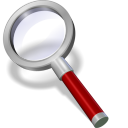 128x128px size png icon of search red dark