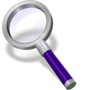 128x128px size png icon of search violett