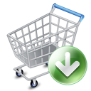 128x128px size png icon of shop cart down