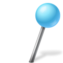 128x128px size png icon of Map Marker Ball Right Azure