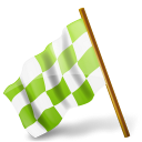 128x128px size png icon of Map Marker Chequered Flag Left Chartreuse