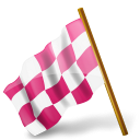 128x128px size png icon of Map Marker Chequered Flag Left Pink