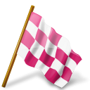 128x128px size png icon of Map Marker Chequered Flag Right Pink