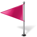 128x128px size png icon of Map Marker Flag 1 Left Pink