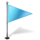 128x128px size png icon of Map Marker Flag 1 Right Azure