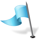 128x128px size png icon of Map Marker Flag 3 Left Azure