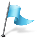 128x128px size png icon of Map Marker Flag 3 Right Azure