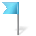 128x128px size png icon of Map Marker Flag 4 Left Azure