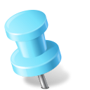 128x128px size png icon of Map Marker Push Pin 2 Left Azure