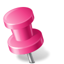 128x128px size png icon of Map Marker Push Pin 2 Left Pink