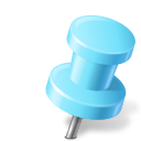 128x128px size png icon of Map Marker Push Pin 2 Right Azure