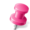 128x128px size png icon of Map Marker Push Pin 2 Right Pink