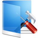 128x128px size png icon of Folder Blue Configure