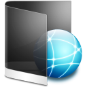 128x128px size png icon of folder black network
