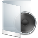 128x128px size png icon of folder white music