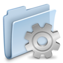 128x128px size png icon of Gear Folder Badged