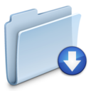 128x128px size png icon of Drop Folder Badged