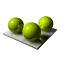 128x128px size png icon of 3 Green Spheares