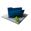 128x128px size png icon of Blue Folder Add