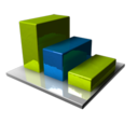 128x128px size png icon of Chart Blue Green