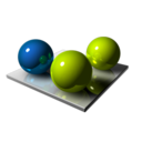 128x128px size png icon of Green Blue Spheres