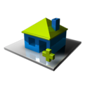 128x128px size png icon of Home Blue Add