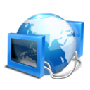 128x128px size png icon of blue internet