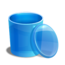 128x128px size png icon of blue recycle bin empty
