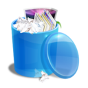 128x128px size png icon of blue recycle bin