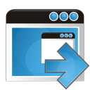 128x128px size png icon of application arrow right